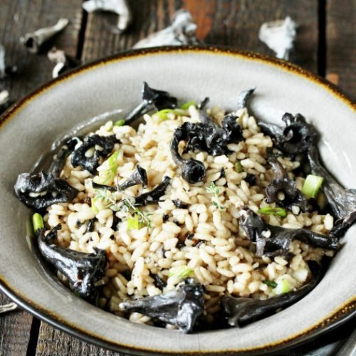 Risotto made with black trumpets and chanterelle