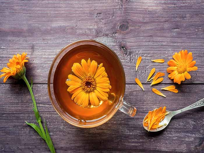 A flat lay picture of a cup of calendula tea with calendula flower on top