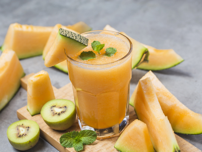 Cantaloupe Juice Easy Recipe And Benefits Organic Facts Cut each half into 2 pieces and coarsely grate into a bowl. cantaloupe juice easy recipe and