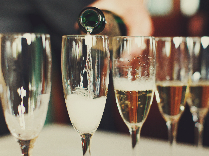 Champagne in multiple glasses