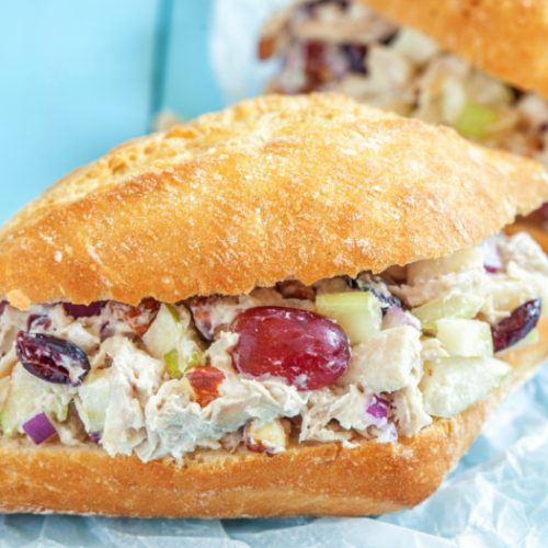 cranberry salad stuffed in a sandwich with a blue background