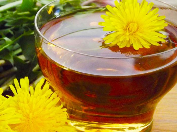 Dandelion flower tea close up shot