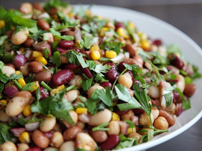 5 bean salad in a bowl
