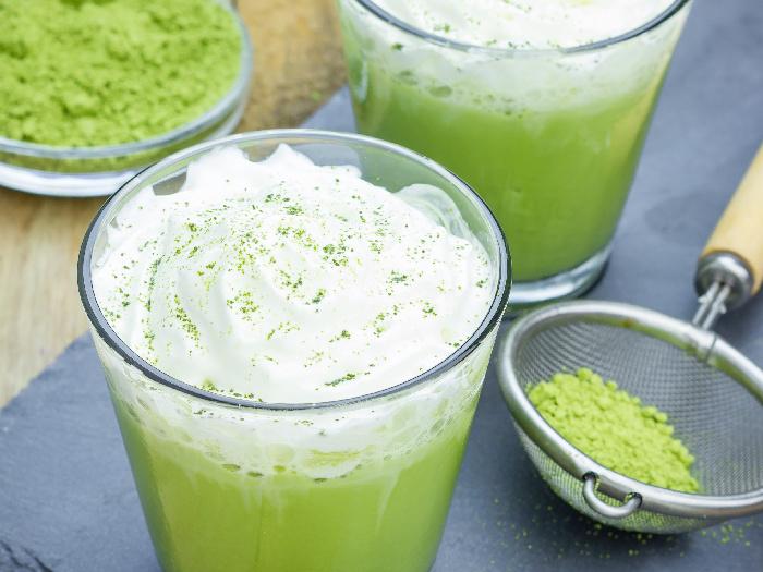 Homemade green tea frappe in glass