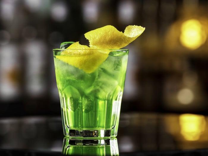 A glass of green tea shot