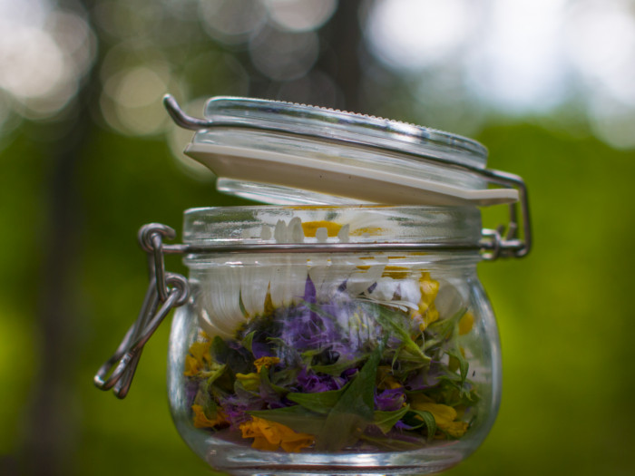 Close-up of a glass jar with herbs with a blurred green background.
