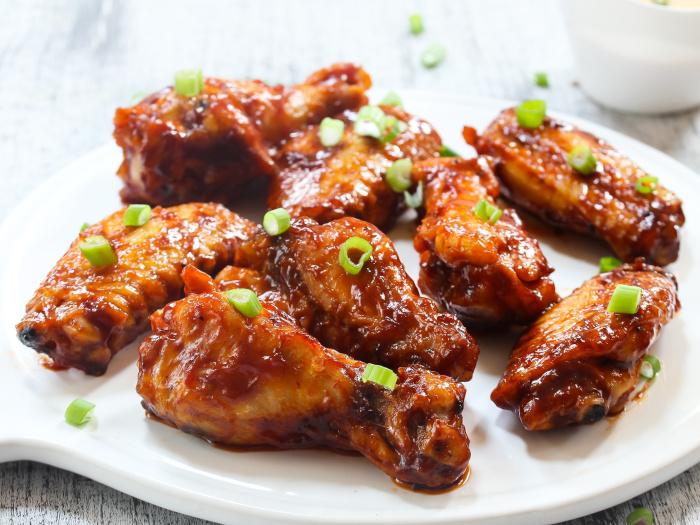Plate of honey-friend chicken wings