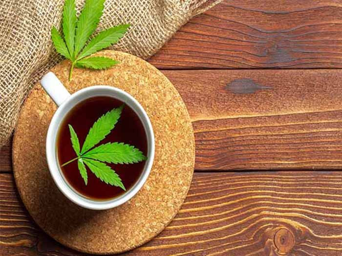 A cup of marijuana tea with fresh marijuana leaf placed on top