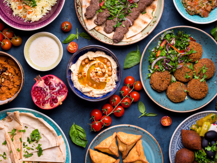 Middle Eastern foods on table