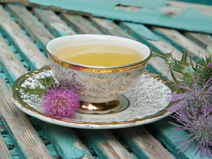 A cup of milk thistle tea with milk thistle blossoms on a blue wooden table