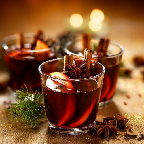 A close-up shot of Christmas mulled wine