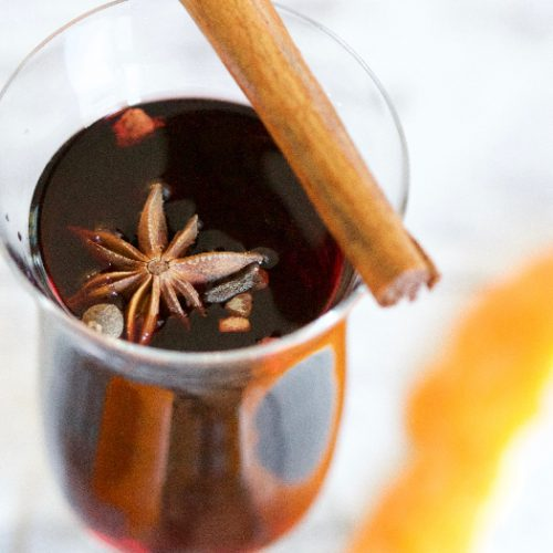 A close up shot of Christmas mulled wine