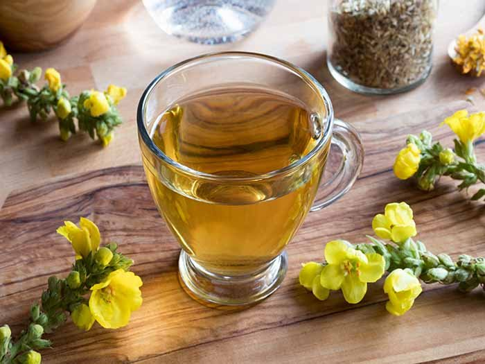 Mullein Tea in a glass cup kept atop a wooden platform next to mullein flowers