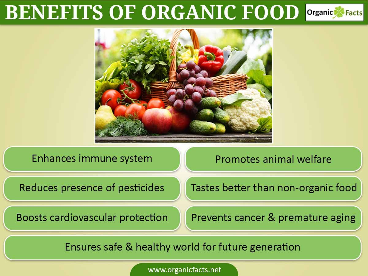 organic food essay Advantages of organic food • healthier – organic food is considered healthier for a few different reasons the main one being that no pesticides are present on the food, which may have.