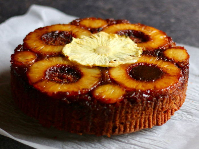 Pineapple upside down cake on a white napkin