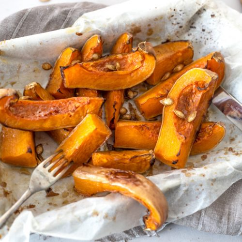 Roasted squash in a baking tray