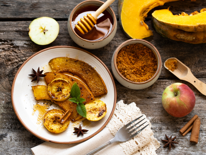 Roasted pumpkin slices with spices and organic brown sugar