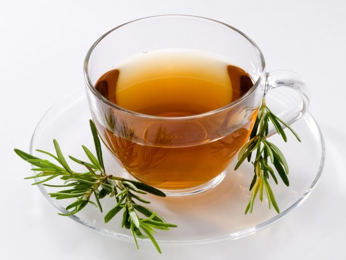A close-up view of rosemary tea