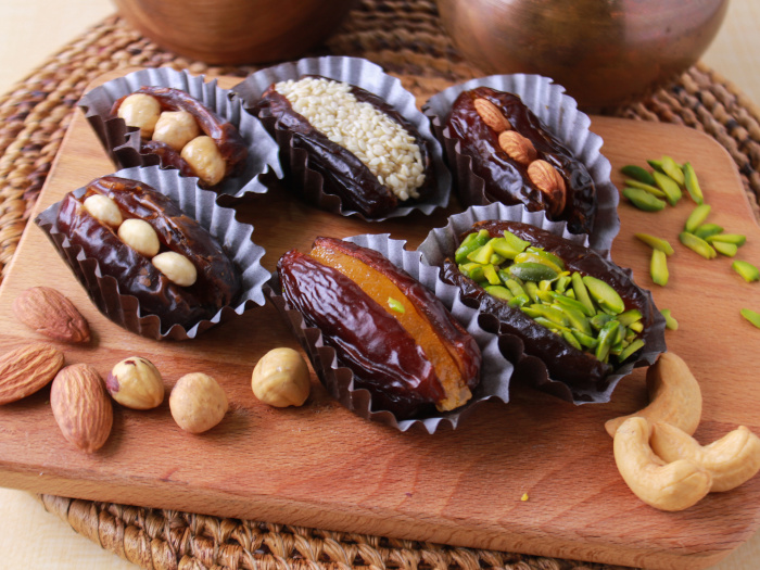 Close up of dates stuffed with nuts