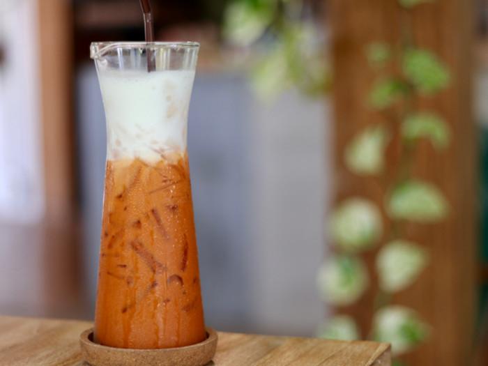 Thai iced tea in a tall glass
