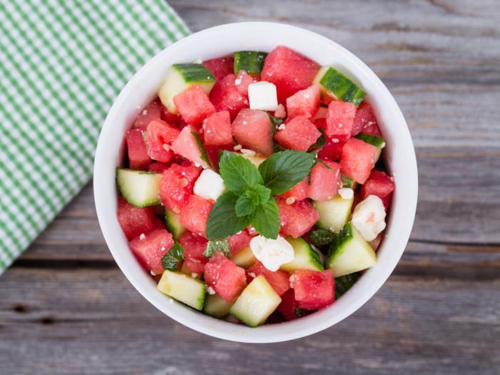 Watermelon cucumber salad in a bowl